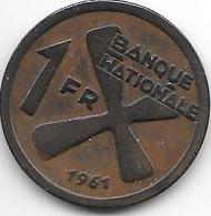 *katanga 1 Franc 1961  Km 1  Xf+ - Katanga