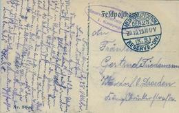 1915 , TARJETA POSTAL DE TEMA MILITAR CIRCULADA A DRESDEN , MAT. FELDPOSTEXPEDITION / RESERVE - DIV. , FRANQUICIA - Cartas