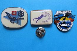 Lot De 3 Pin's, Plongée,CMAS,FRIDDAY DIVER,SUBEX DIVING - Diving
