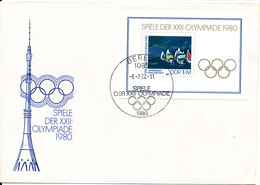 Germany DDR FDC 8-7-1980 Mini Sheet Olympic Summer Games Moscow 1980 With Cachet - Summer 1980: Moscow