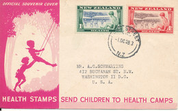 New Zealand FDC Health Stamps Complete Set Of 2 With Cachet Sent To USA - FDC