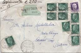 ITALIEN 1943 - 10 Fach MIF Auf R-Wert-Brief (200?), Mit Siegel, Gebrauchsspuren, Beschädigt - 1900-44 Victor Emmanuel III.