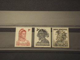 PAPUA N. G. - 1958/64 COSTUMI 3 VALORI - NUOVI(++) - Papua Nuova Guinea