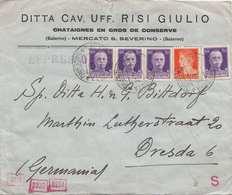 ITALIEN 1941 - 5 Fach Frankierung + Viele Stempel Auf Express-Firmenbrief Mit Zensuröffnung D.Deutschen OK D.Wehrmacht - Luftpost