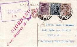 ITALIEN 1929 - Ganzsache Mit 2 Fach Zusatzfrank. Gel.v.Savonna N. Thal Schweiz - 1900-44 Victor Emmanuel III.