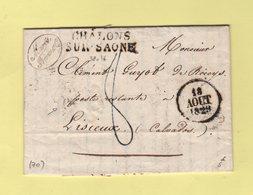 Chalons Sur Saone - 70 - Saone Et Loire - 18 Aout 1829 - Marcophilie (Lettres)