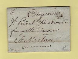 Lyon - 68 - Rhone - Port Paye Pour Milan - Courrier De L An 8 - Poststempel (Briefe)