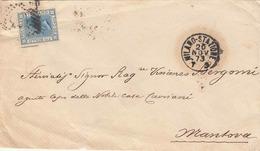 """* ITALIEN 1873 - 20 Cent Fco Bollo Auf Siegel Brief Stempel """"MILANO_STATIONE 20 NOV 73"""" Gelaufen Nach MANTOVA - 1861-78 Victor Emmanuel II."""