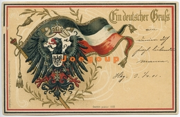 Postkarte Heraldik Deutscher Gruss Deutschland 1901 - Souvenir De...