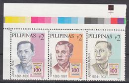Filippine Philippines Philippinen Pilipinas 1995 Centenary Indipendence Rizal Bonifacio Mabini Strip  MNH** (see Photo) - Filippine