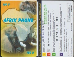 AFRIK PHONE PU1 CARTE AFRIQUE 100 F / 150 U TELECARTE PREPAYEE 2000/03/31 - France