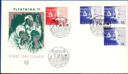 Sweden 1971 International , 2 Values From Booklet& 2 From  Dispenser On FDC Terne, Stern - Birds