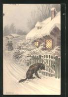 CPA Illustrateur R. Ulreich: Paar Et Chien Am Le Jardintor Beim Wintersturm - Autres Illustrateurs