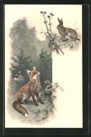 Lithographie Fuchs Beobachtet Den Hasen - Animals