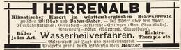 Original-Werbung/ Anzeige 1897 - HERRENALB - Ca. 90 X 25 Mm - Pubblicitari
