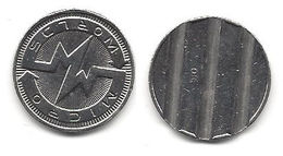 Unknown Token With What Appears To Be Russian Text, Heavily Grooved Back - Tokens & Medals