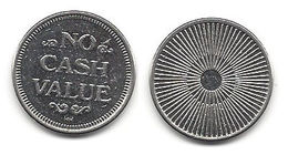 No Cash Value Metal Token - Star Burst Design On Back - Unclassified