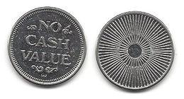No Cash Value Metal Token - Star Burst Design On Back - Tokens & Medals