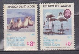 ECUADOR 1983 NATIONAL RULE OVER GALAPAGOS ISLANDS 150TH ANNIVERSARY SEA LION FLAMINGO & CH. DARWIN MNH SC# 1031-1033 - Equateur
