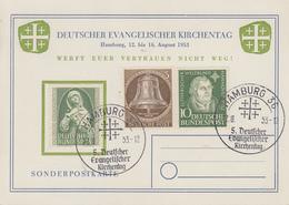 Carte   ALLEMAGNE   Journée  De  L' Eglise  Evangélique  Allemande   HAMBURG   1953 - [7] République Fédérale