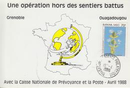 Carte  BURKINA  FASO   Opération  Humanitaire   OUAGADOUGOU   1988 - Burkina Faso (1984-...)