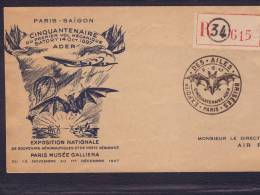 Lettre Recommandée 615 Obl. Paris Expo Des Ailes Brisées  11.12.1947 Affr Marianne De Gandon+ Arc De Triomphe  -> Saï - Cachets Commémoratifs