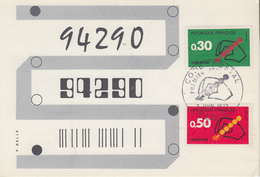 Carte   Maximum  1er  Jour     FRANCE   CODE  POSTAL    1972 - Cartes-Maximum