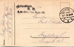1.WK, Original Feldpost-Karte (Vordruck), 29.9.18 Deutsche Feldpost*** Gelaufen Nach Magdeburg - Guerre 1914-18