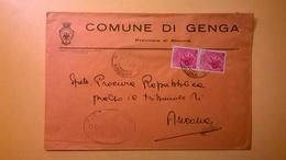1959 BUSTA COMUNALE TEMATICA COMUNE DI GENGA BOLLI SERIE SIRACUSANA TIMBRO UFFICIALE COMUNE ELITTICO - 6. 1946-.. Repubblica