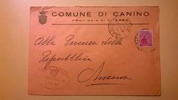 1959 BUSTA COMUNALE TEMATICA COMUNE DI CANINO BOLLI SERIE SIRACUSANA TIMBRO UFFICIALE COMUNE ELITTICO - 6. 1946-.. Repubblica