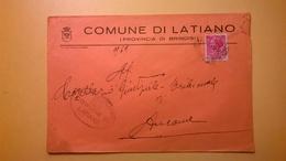 1959 BUSTA COMUNALE TEMATICA COMUNE DI LATIANO BOLLI SERIE SIRACUSANA TIMBRO UFFICIALE COMUNE ELITTICO - 6. 1946-.. Repubblica