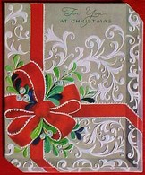 GAUFREE CARTE NOEL PAQUET CADEAU  TROMPE OEIL , Gui Ruban Poinsettia  , Embossed GREETINGS CHRISTMAS DIE CUT GIFT PARCEL - Mechanical