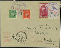 Lettre 50c + 1.50 Colbert + 70 Et 80c Pétain Surchargés Festung Lorient Obl Sur L 20 Avril 1945 Pour La Baule Taxée à 1. - Timbres