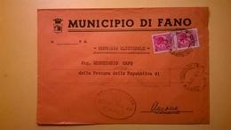 1959 BUSTA COMUNALE TEMATICA COMUNE DI FANO BOLLI SERIE SIRACUSANA TIMBRO UFFICIALE COMUNE ELITTICO - 6. 1946-.. Repubblica