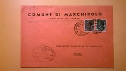 1960 BUSTA COMUNALE TEMATICA COMUNE DI MARCHIROLO BOLLI SERIE SIRACUSANA TIMBRO UFFICIALE COMUNE ELITTICO - 6. 1946-.. Repubblica