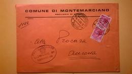 1960 BUSTA COMUNALE TEMATICA COMUNE DI MONTEMARCIANO BOLLI SERIE SIRACUSANA TIMBRO UFFICIALE COMUNE ELITTICO - 6. 1946-.. Repubblica