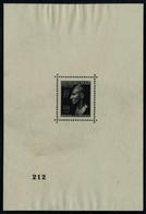 Neuf Sans Gomme Bloc Reinhard Heydrich, Non émis, Froissure Infime, Michel N° 13I, Bloc Numéroté 212, Certificat Hermann - Timbres