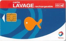 # Carte A Puce Portemonnaie Lavage Total - Poisson - 600 Stations - Carte De Lavage Rechargeable - Bon Etat - - Frankrijk