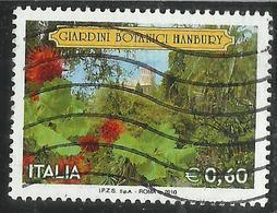 ITALIA REPUBBLICA ITALY REPUBLIC 2010 GIARDINI BOTANICI HANBURY  VENTIMIGLIA € 0,60 USATO USED OBLITERE' - 6. 1946-.. Republic