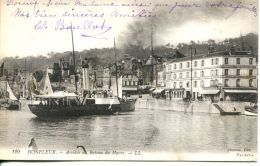 N°64160 -cpa Honfleur -arrivée Du Bateau Du Havre- - Bateaux