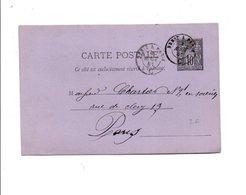 AMBULANT DE BREST A PARIS SUR ENTIER SAGE DU 4/8/1881 - Marcophilie (Lettres)