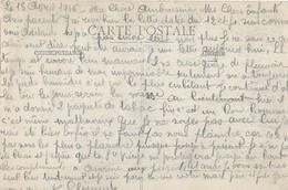 4 Lettres De Correspondance D'un Soldat Avec Sa Famille Avril 1916 - Guerra 1914-18