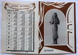 Calendrier Loterie Nationale Février 1950 Tirage Du 22 Février Histoire Du Costume Statue Funéraire égyptienne - Calendars