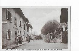 1 Cpa Saint-Auvent : Hôtel Duval, Rue De La Poste, Place Des Tilleuls. Animation - France
