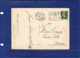 ##(DAN187/1)-1937-cartolina Illustrata Da Venezia Per Torino Tariffa Solo Data E Fermo Posta C.10+15 Pagata Dal Mittente - 1900-44 Victor Emmanuel III