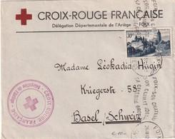 FRANCE 1952 LETTRE DE FOIX  CROIX ROUGE DEPARTEMENT ARIEGE - Marcophilie (Lettres)