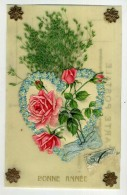 CARTE CELLULOÏD - Bonne Année - Avec Coeur Et Fleurs Chromolithographies - Phantasie