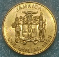 Jamaica 1 Dollar, 1993 Brass Plated Steel /magnetic/ - Jamaica