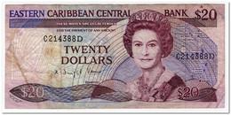 EAST CARIBBEAN STATES,20 DOLLARS,1988-93,P.24d2,FINE - East Carribeans