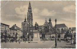 Antwerp, Antwerpen, Anvers, Place Verte Avec Le Monument Rubens,  1950s Used Postcard [21560] - Antwerpen